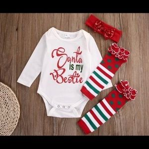 NEW Baby Christmas Outfit Set With Leg Warmers